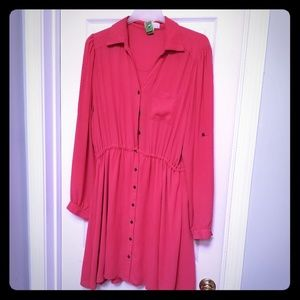 💞 Forever 21 Size 2X Pink Button Down Dress